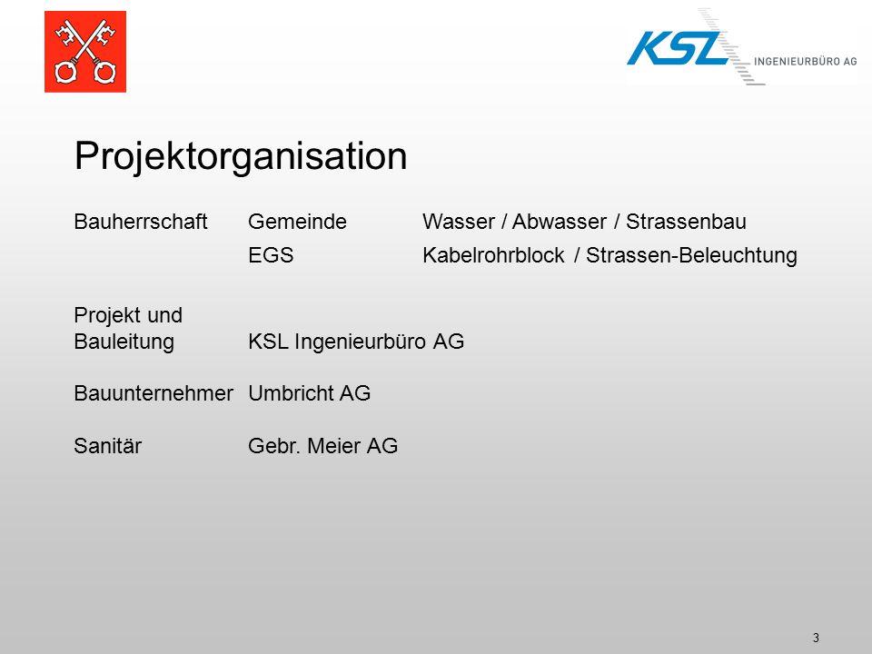 3 Projektorganisation BauherrschaftGemeinde Wasser / Abwasser / Strassenbau EGS Kabelrohrblock / Strassen-Beleuchtung Projekt und BauleitungKSL Ingenieurbüro AG BauunternehmerUmbricht AG SanitärGebr.