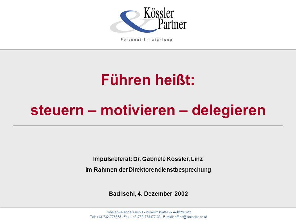 Kössler & Partner GmbH - Museumstraße 9 - A-4020 Linz Tel: +43-732-778383 - Fax: +43-732-778477-33 - E-mail: office@koessler.co.at Führen heißt: steue