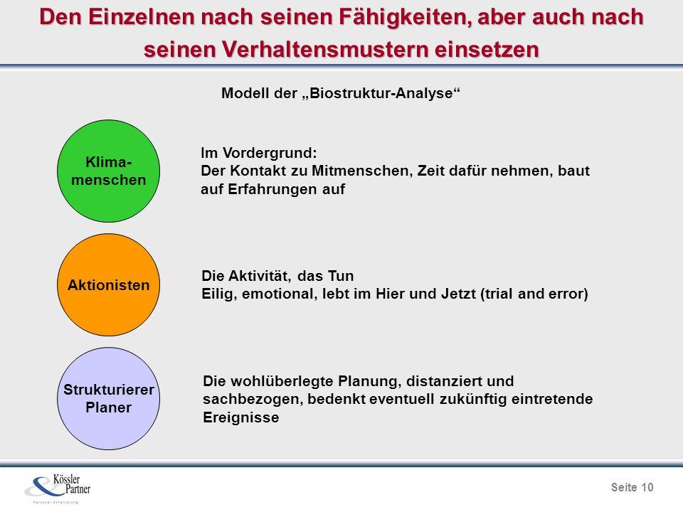 """Seite 10 Den Einzelnen nach seinen Fähigkeiten, aber auch nach seinen Verhaltensmustern einsetzen Modell der """"Biostruktur-Analyse"""" Im Vordergrund: Der"""