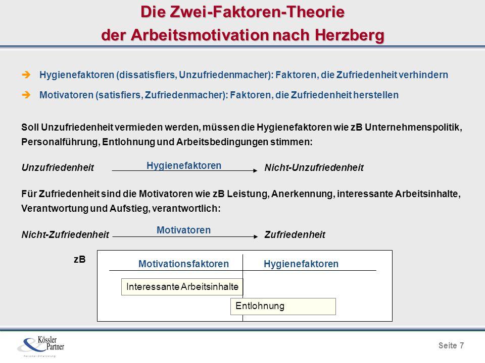 Seite 7 Die Zwei-Faktoren-Theorie der Arbeitsmotivation nach Herzberg  Hygienefaktoren (dissatisfiers, Unzufriedenmacher): Faktoren, die Zufriedenhei