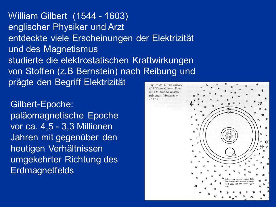 William Gilbert (1544 - 1603) englischer Physiker und Arzt entdeckte viele Erscheinungen der Elektrizität und des Magnetismus studierte die elektrosta