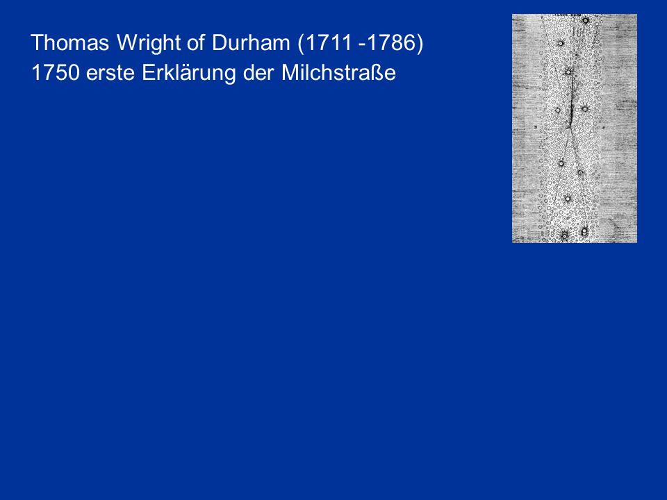 Thomas Wright of Durham (1711 -1786) 1750 erste Erklärung der Milchstraße