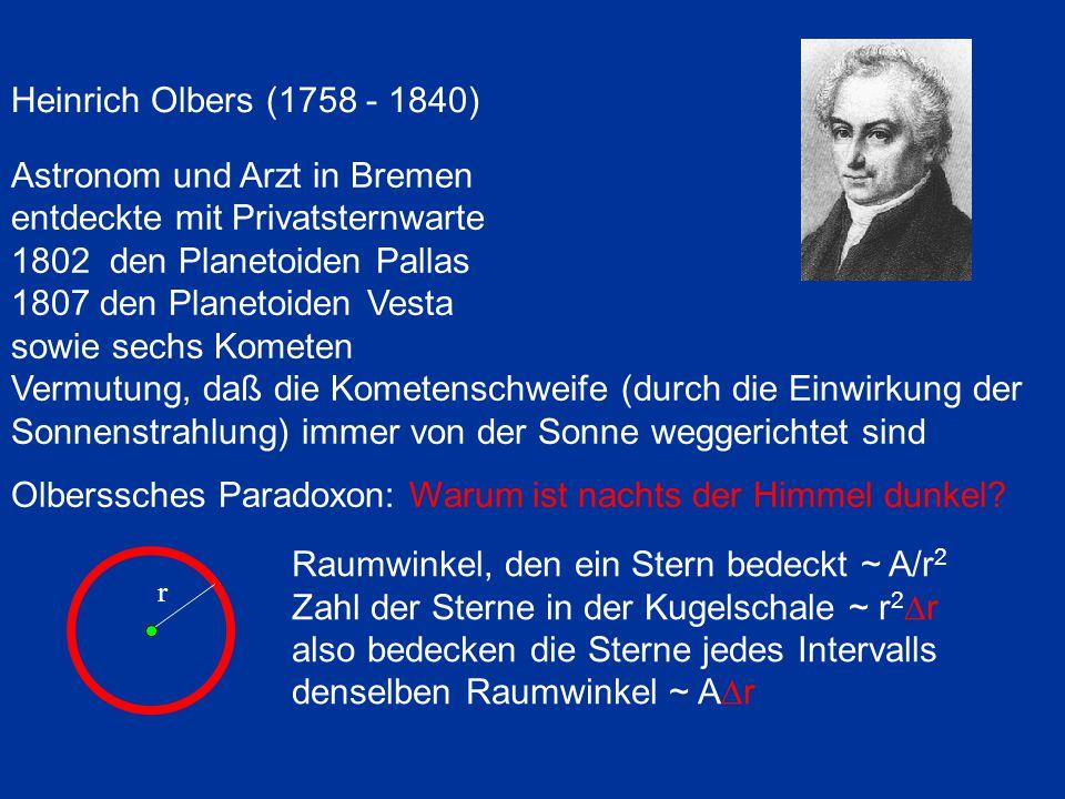 Heinrich Olbers (1758 - 1840) Astronom und Arzt in Bremen entdeckte mit Privatsternwarte 1802 den Planetoiden Pallas 1807 den Planetoiden Vesta sowie