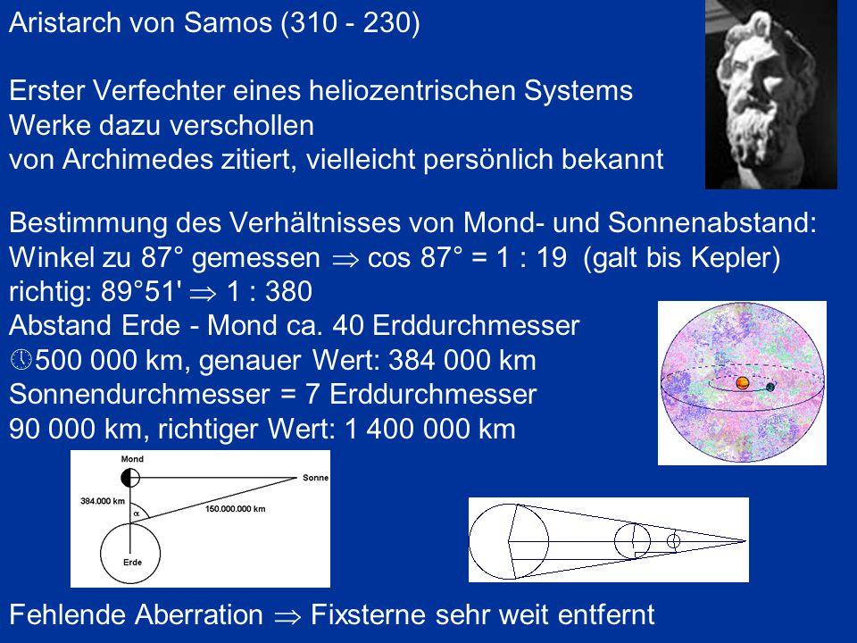 Aristarch von Samos (310 - 230) Erster Verfechter eines heliozentrischen Systems Werke dazu verschollen von Archimedes zitiert, vielleicht persönlich