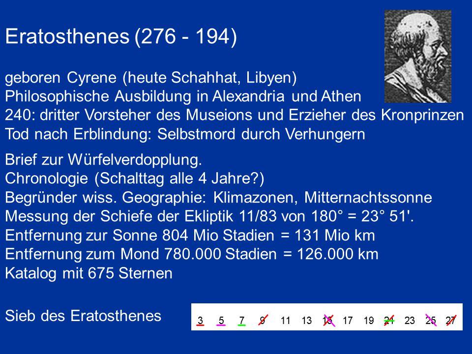 Eratosthenes (276 - 194) geboren Cyrene (heute Schahhat, Libyen) Philosophische Ausbildung in Alexandria und Athen 240: dritter Vorsteher des Museions