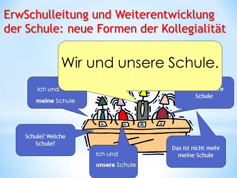 11 Ich und meine Schule Ich und unsere Schule Wir und unsere Schule Das ist nicht mehr meine Schule Schule? Welche Schule? Wir und unsere Schule. ErwS