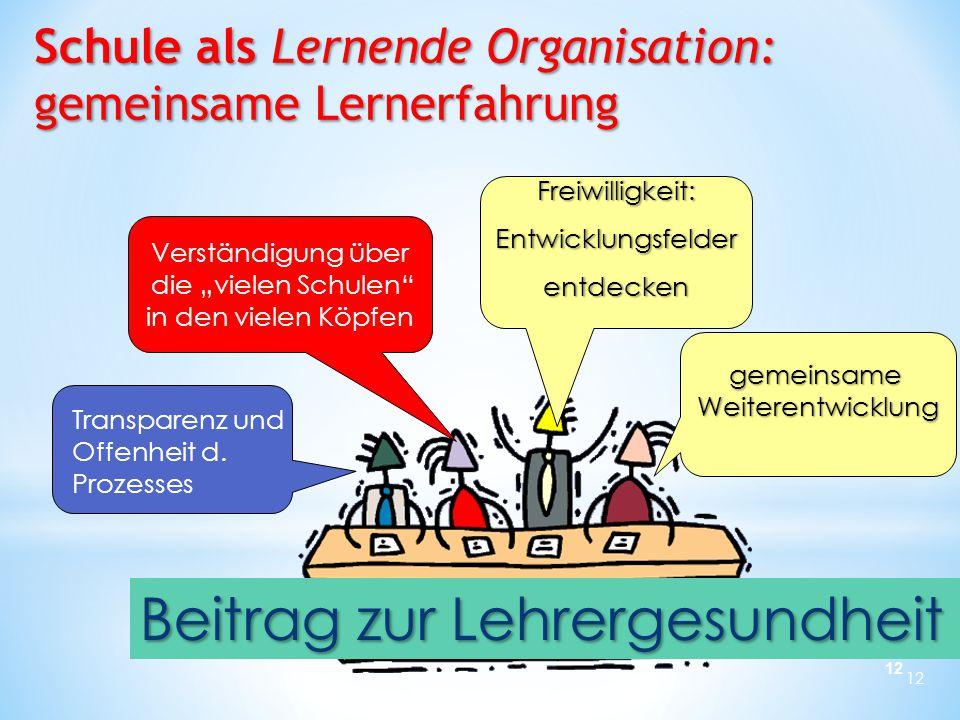 12 Transparenz und Offenheit d. Prozesses gemeinsame Weiterentwicklung Schule als Lernende Organisation: gemeinsame Lernerfahrung Verständigung über d