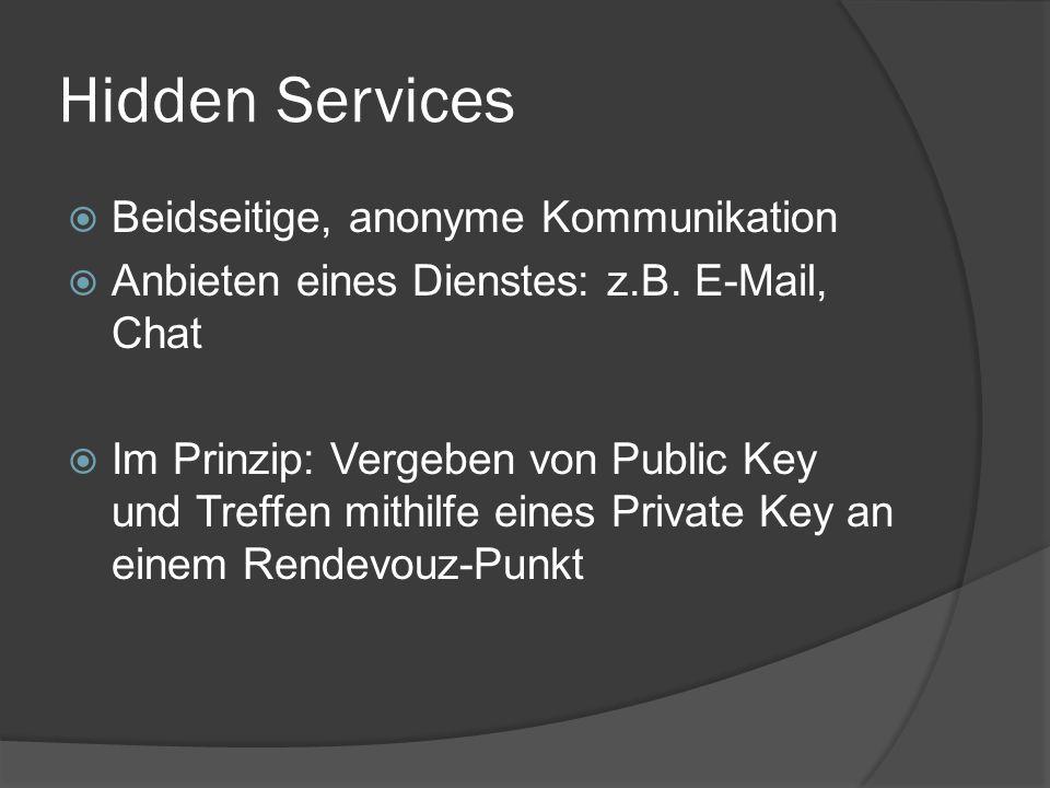 Hidden Services  Beidseitige, anonyme Kommunikation  Anbieten eines Dienstes: z.B. E-Mail, Chat  Im Prinzip: Vergeben von Public Key und Treffen mi
