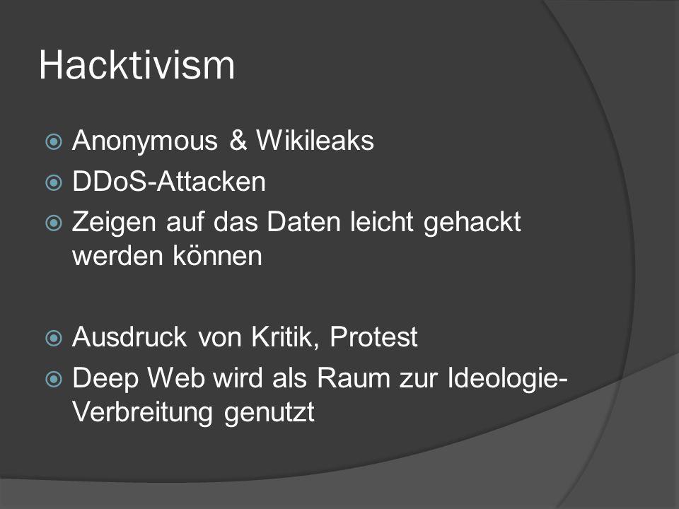 Hacktivism  Anonymous & Wikileaks  DDoS-Attacken  Zeigen auf das Daten leicht gehackt werden können  Ausdruck von Kritik, Protest  Deep Web wird