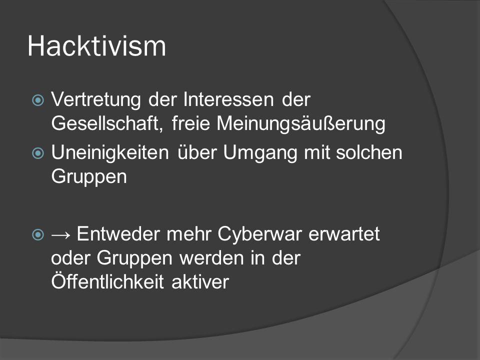 Hacktivism  Vertretung der Interessen der Gesellschaft, freie Meinungsäußerung  Uneinigkeiten über Umgang mit solchen Gruppen  → Entweder mehr Cybe
