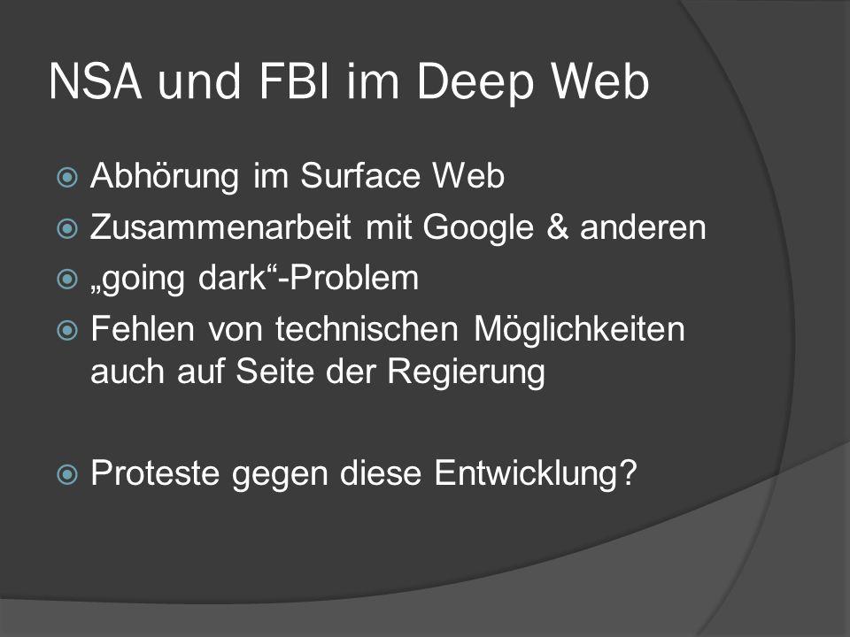 """NSA und FBI im Deep Web  Abhörung im Surface Web  Zusammenarbeit mit Google & anderen  """"going dark""""-Problem  Fehlen von technischen Möglichkeiten"""