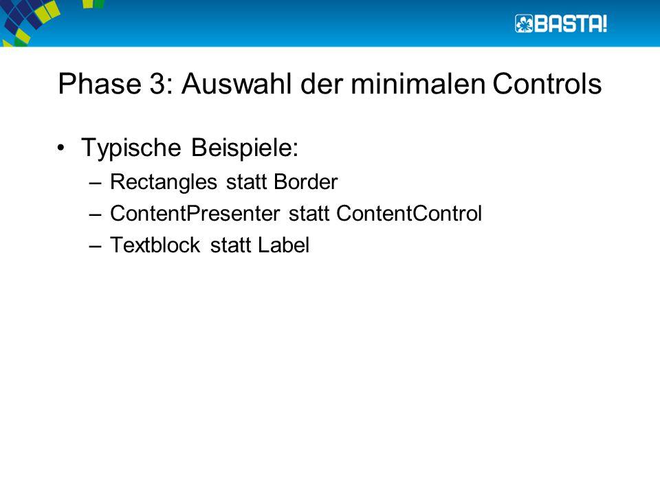 Phase 3: Auswahl der minimalen Controls Typische Beispiele: –Rectangles statt Border –ContentPresenter statt ContentControl –Textblock statt Label