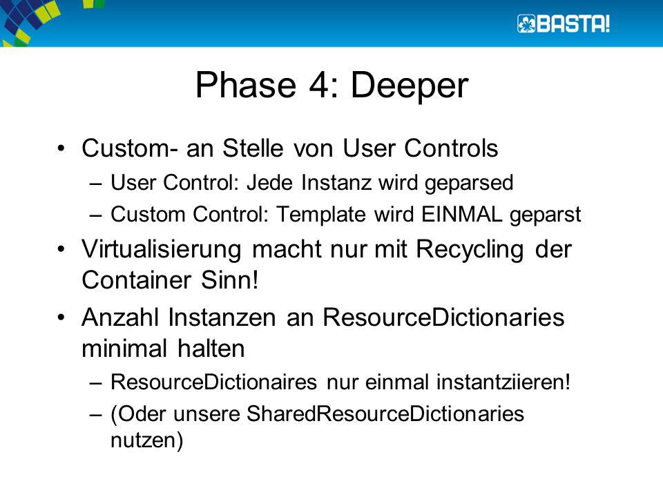 Phase 4: Deeper Custom- an Stelle von User Controls –User Control: Jede Instanz wird geparsed –Custom Control: Template wird EINMAL geparst Virtualisierung macht nur mit Recycling der Container Sinn.
