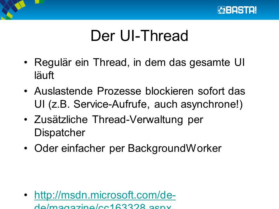 Der UI-Thread Regulär ein Thread, in dem das gesamte UI läuft Auslastende Prozesse blockieren sofort das UI (z.B. Service-Aufrufe, auch asynchrone!) Z
