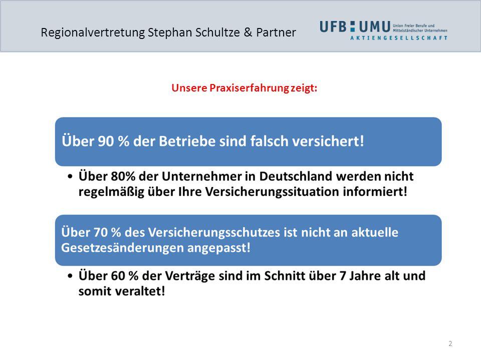 2 Regionalvertretung Stephan Schultze & Partner Unsere Praxiserfahrung zeigt:
