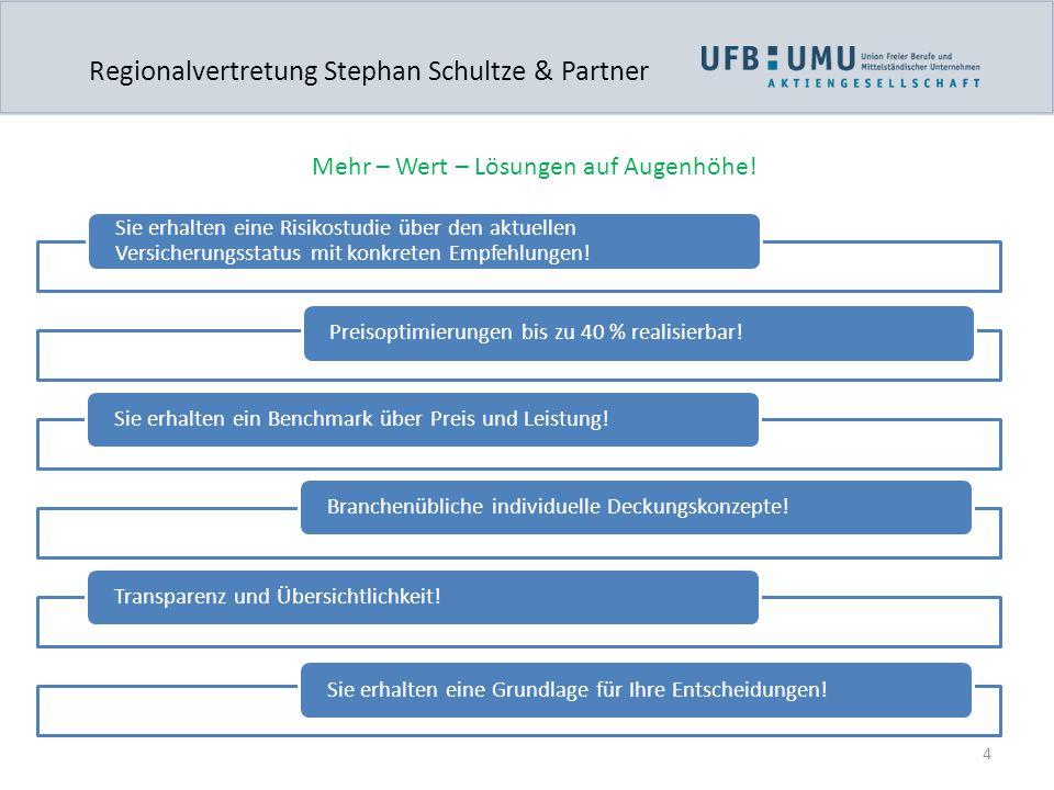 4 Regionalvertretung Stephan Schultze & Partner Mehr – Wert – Lösungen auf Augenhöhe! Sie erhalten eine Risikostudie über den aktuellen Versicherungss