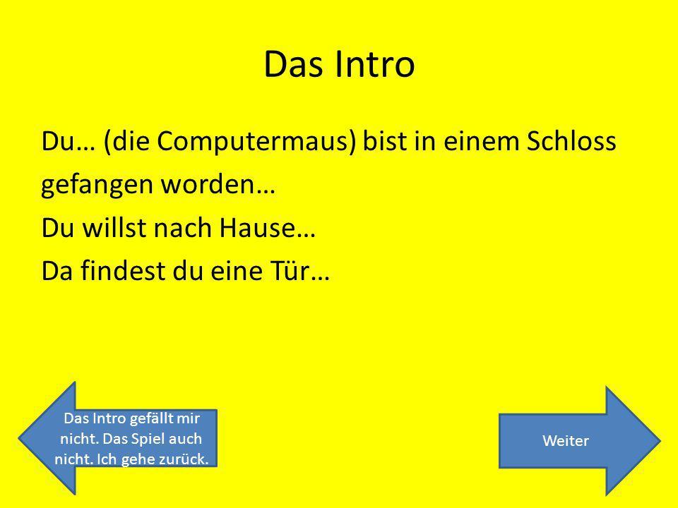 Das Intro Du… (die Computermaus) bist in einem Schloss gefangen worden… Du willst nach Hause… Da findest du eine Tür… Weiter Das Intro gefällt mir nicht.