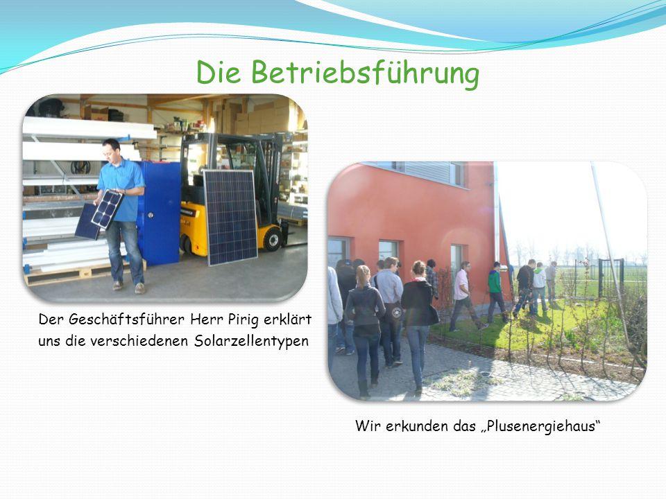 """Die Betriebsführung Der Geschäftsführer Herr Pirig erklärt uns die verschiedenen Solarzellentypen Wir erkunden das """"Plusenergiehaus"""