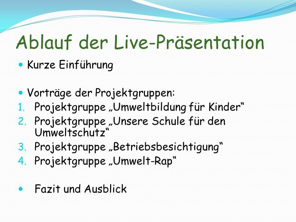 Ablauf der Live-Präsentation Kurze Einführung Vorträge der Projektgruppen: 1.