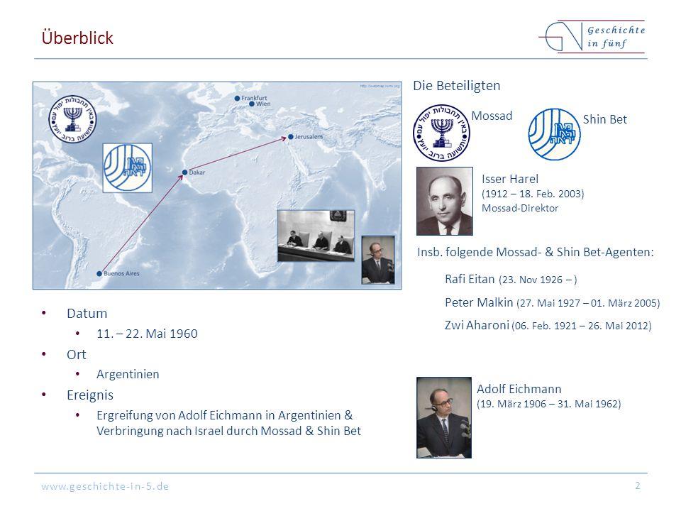 www.geschichte-in-5.de Überblick Datum 11. – 22. Mai 1960 Ort Argentinien Ereignis Ergreifung von Adolf Eichmann in Argentinien & Verbringung nach Isr