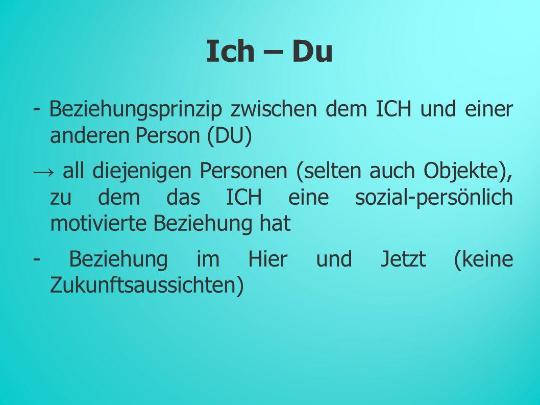 Ich – Du - Beziehungsprinzip zwischen dem ICH und einer anderen Person (DU) → all diejenigen Personen (selten auch Objekte), zu dem das ICH eine sozial-persönlich motivierte Beziehung hat - Beziehung im Hier und Jetzt (keine Zukunftsaussichten)