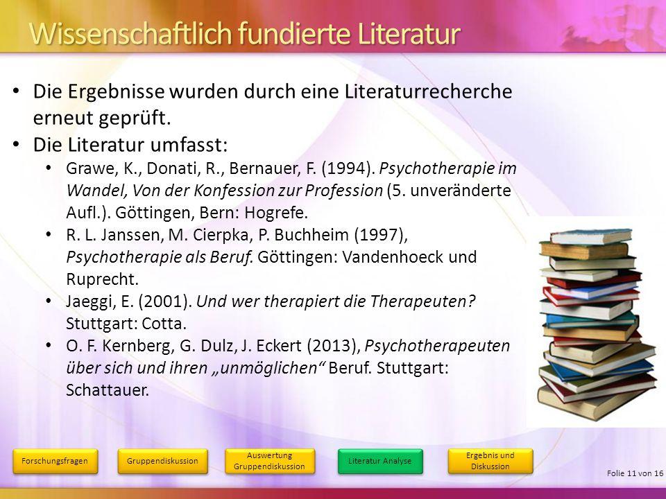 Wissenschaftlich fundierte Literatur Forschungsfragen Gruppendiskussion Auswertung Gruppendiskussion Literatur Analyse Ergebnis und Diskussion Folie 1