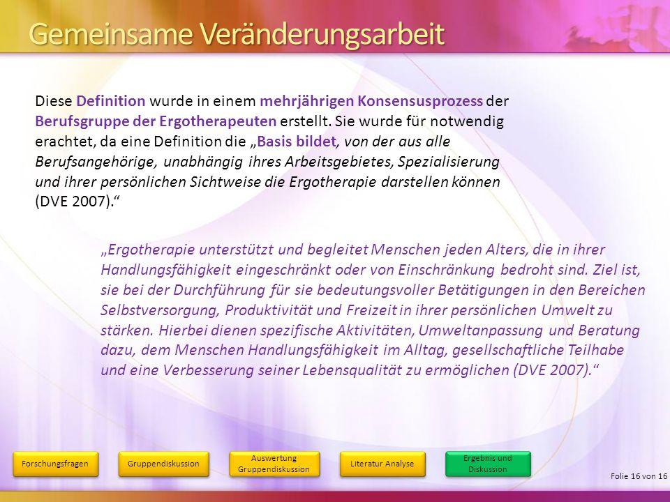 Gemeinsame Veränderungsarbeit Forschungsfragen Gruppendiskussion Auswertung Gruppendiskussion Literatur Analyse Ergebnis und Diskussion Folie 16 von 1
