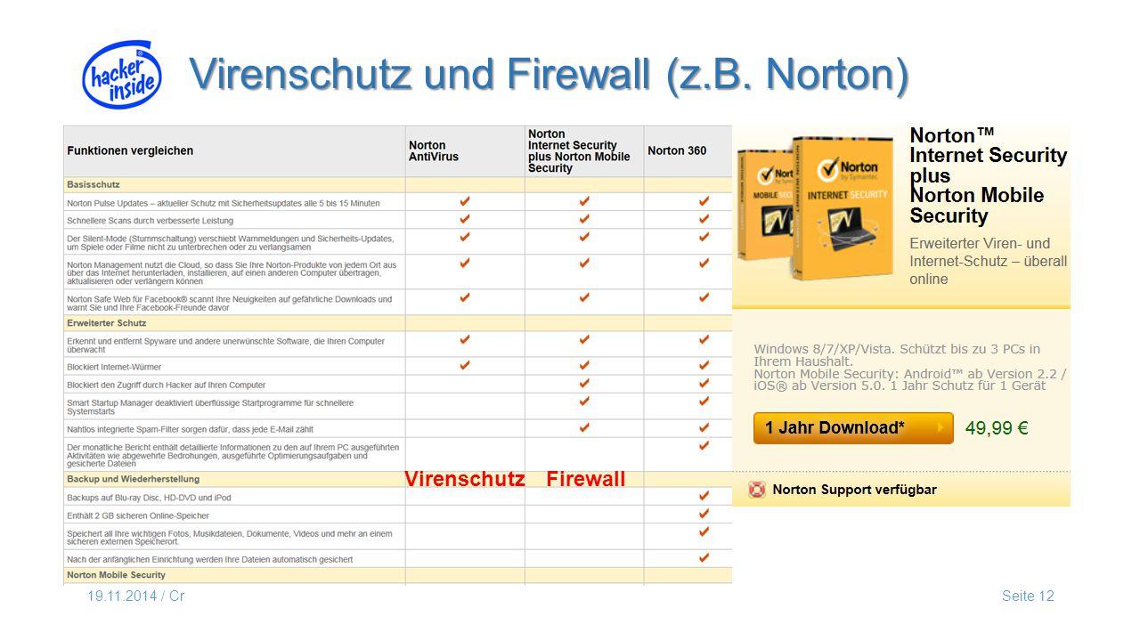 19.11.2014 / CrSeite 12 Virenschutz und Firewall (z.B. Norton) Virenschutz Firewall