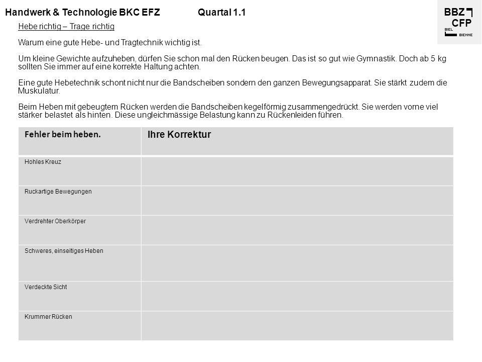 Handwerk & Technologie BKC EFZQuartal 1.1 Hebe richtig – Trage richtig Warum eine gute Hebe- und Tragtechnik wichtig ist. Um kleine Gewichte aufzuhebe