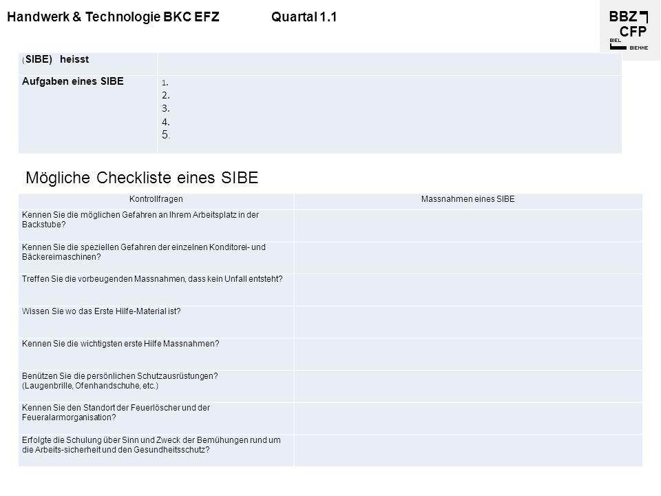 Handwerk & Technologie BKC EFZQuartal 1.1 KontrollfragenMassnahmen eines SIBE Kennen Sie die möglichen Gefahren an Ihrem Arbeitsplatz in der Backstube