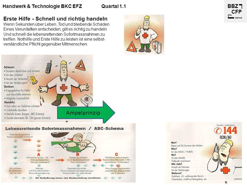 Handwerk & Technologie BKC EFZQuartal 1.1 Erste Hilfe - Schnell und richtig handeln Wenn Sekunden über Leben, Tod und bleibende Schäden Eines Verunfal