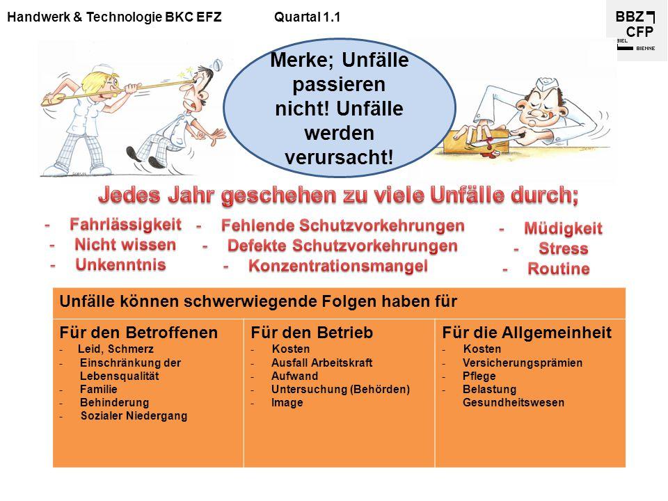 Handwerk & Technologie BKC EFZQuartal 1.1 Merke; Unfälle passieren nicht! Unfälle werden verursacht! Unfälle können schwerwiegende Folgen haben für Fü