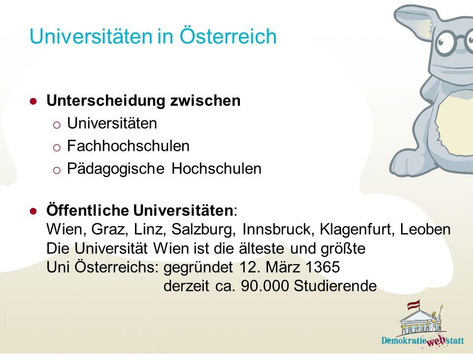 Universitäten in Österreich ●Unterscheidung zwischen o Universitäten o Fachhochschulen o Pädagogische Hochschulen ●Öffentliche Universitäten: Wien, Gr