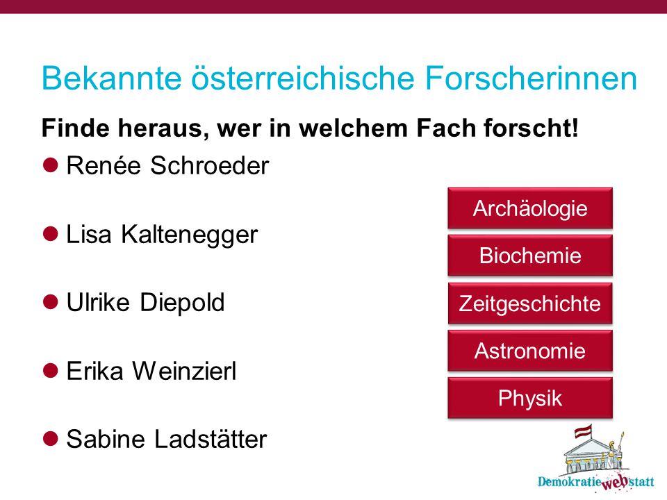 Bekannte österreichische Forscherinnen Finde heraus, wer in welchem Fach forscht! Renée Schroeder Lisa Kaltenegger Ulrike Diepold Erika Weinzierl Sabi