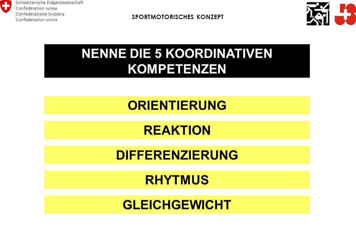 ORIENTIERUNG REAKTION DIFFERENZIERUNG RHYTMUS NENNE DIE 5 KOORDINATIVEN KOMPETENZEN GLEICHGEWICHT SPORTMOTORISCHES KONZEPT