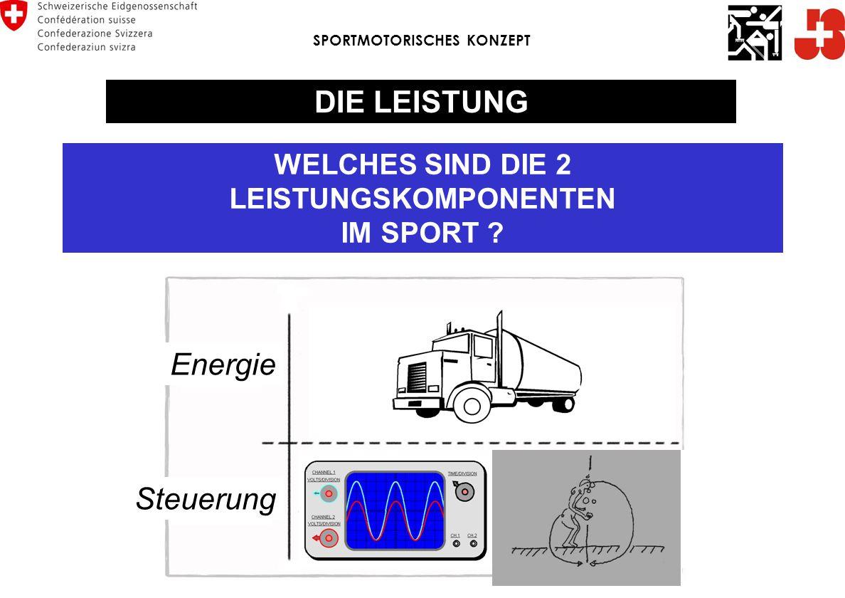 WELCHES SIND DIE 2 LEISTUNGSKOMPONENTEN IM SPORT ? Energie Steuerung SPORTMOTORISCHES KONZEPT DIE LEISTUNG