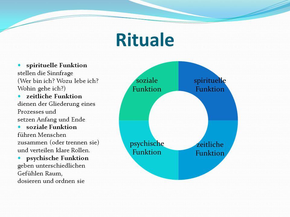 Rituale spirituelle Funktion stellen die Sinnfrage (Wer bin ich.