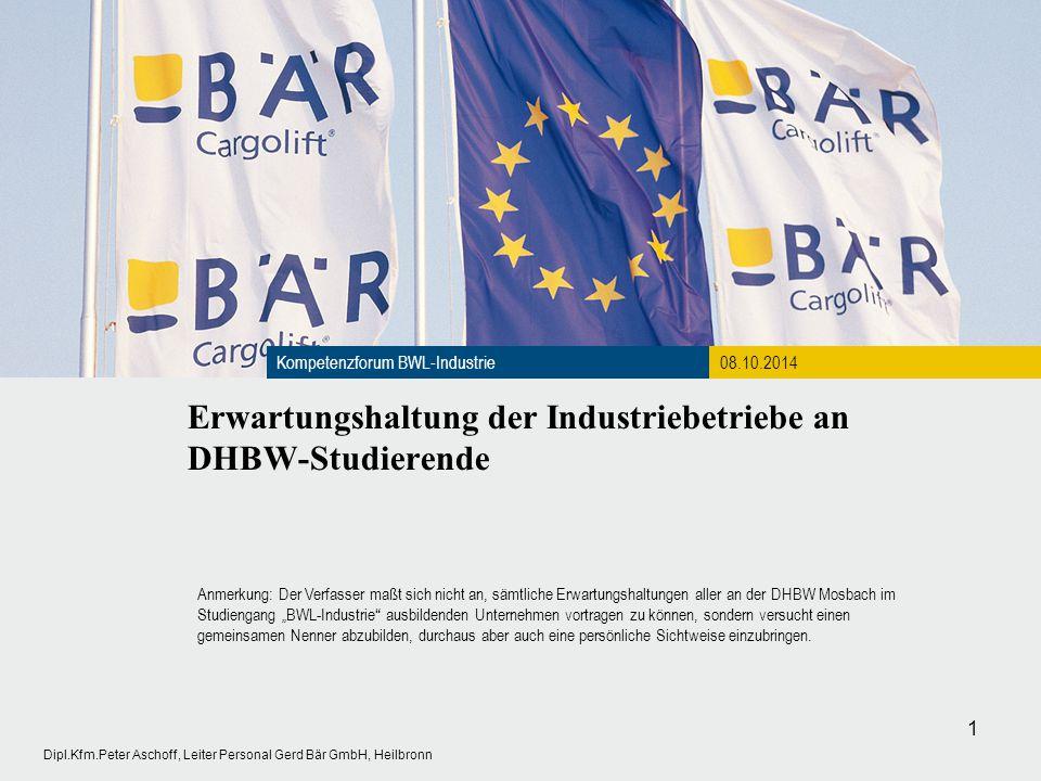 Erwartungshaltung der Industriebetriebe an DHBW-Studierende Kompetenzforum BWL-Industrie08.10.2014 1 Dipl.Kfm.Peter Aschoff, Leiter Personal Gerd Bär