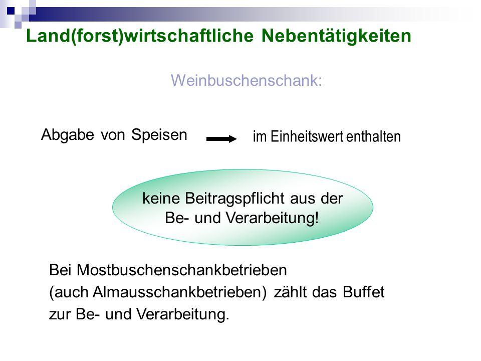 Weinbuschenschank: Abgabe von Speisen keine Beitragspflicht aus der Be- und Verarbeitung! Bei Mostbuschenschankbetrieben (auch Almausschankbetrieben)
