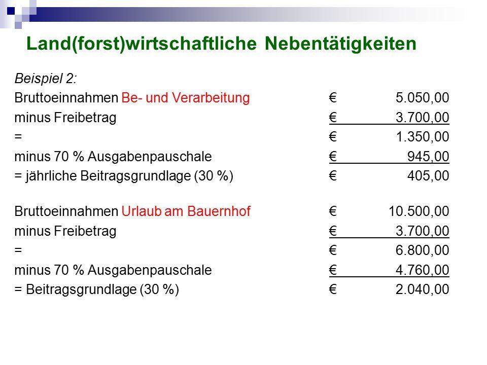Beispiel 2: Bruttoeinnahmen Be- und Verarbeitung€5.050,00 minus Freibetrag€3.700,00 =€1.350,00 minus 70 % Ausgabenpauschale€945,00 = jährliche Beitrag