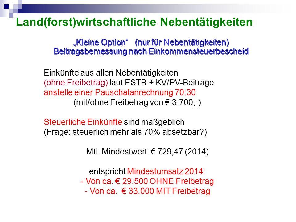 Einkünfte aus allen Nebentätigkeiten (ohne Freibetrag) laut ESTB + KV/PV-Beiträge anstelle einer Pauschalanrechnung 70:30 (mit/ohne Freibetrag von € 3