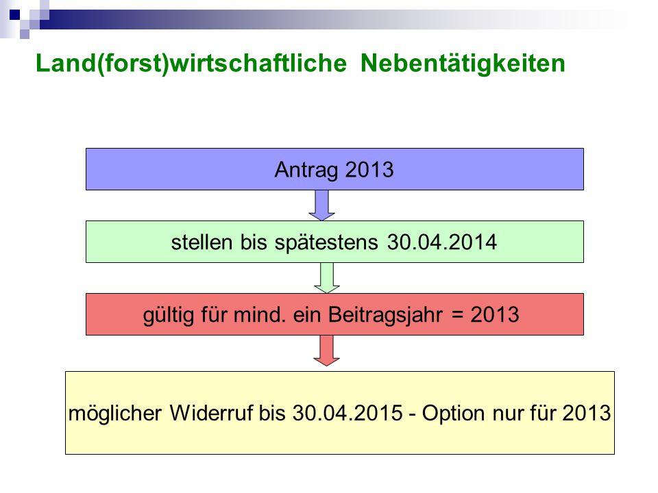 stellen bis spätestens 30.04.2014 gültig für mind. ein Beitragsjahr = 2013 Antrag 2013 möglicher Widerruf bis 30.04.2015 - Option nur für 2013