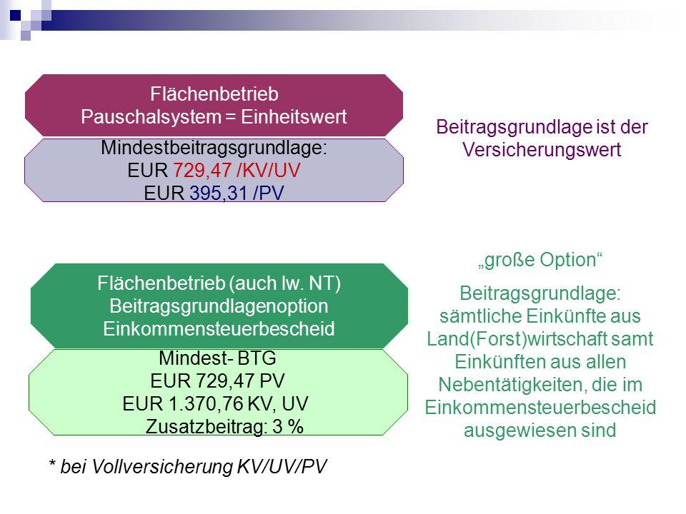 Flächenbetrieb Pauschalsystem = Einheitswert Mindestbeitragsgrundlage: EUR 729,47 /KV/UV EUR 395,31 /PV Beitragsgrundlage ist der Versicherungswert *