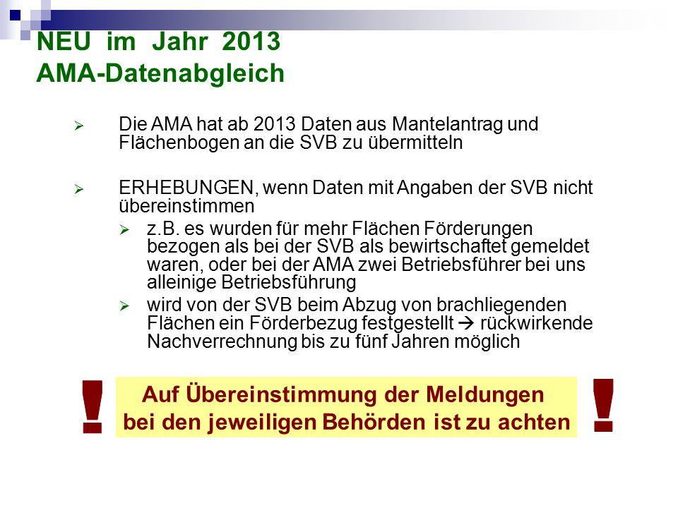 NEU im Jahr 2013 AMA-Datenabgleich  Die AMA hat ab 2013 Daten aus Mantelantrag und Flächenbogen an die SVB zu übermitteln  ERHEBUNGEN, wenn Daten mi
