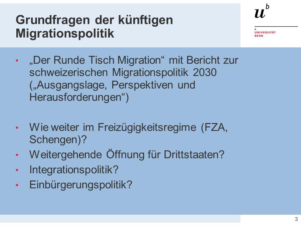 """Grundfragen der künftigen Migrationspolitik """"Der Runde Tisch Migration mit Bericht zur schweizerischen Migrationspolitik 2030 (""""Ausgangslage, Perspektiven und Herausforderungen ) Wie weiter im Freizügigkeitsregime (FZA, Schengen)."""