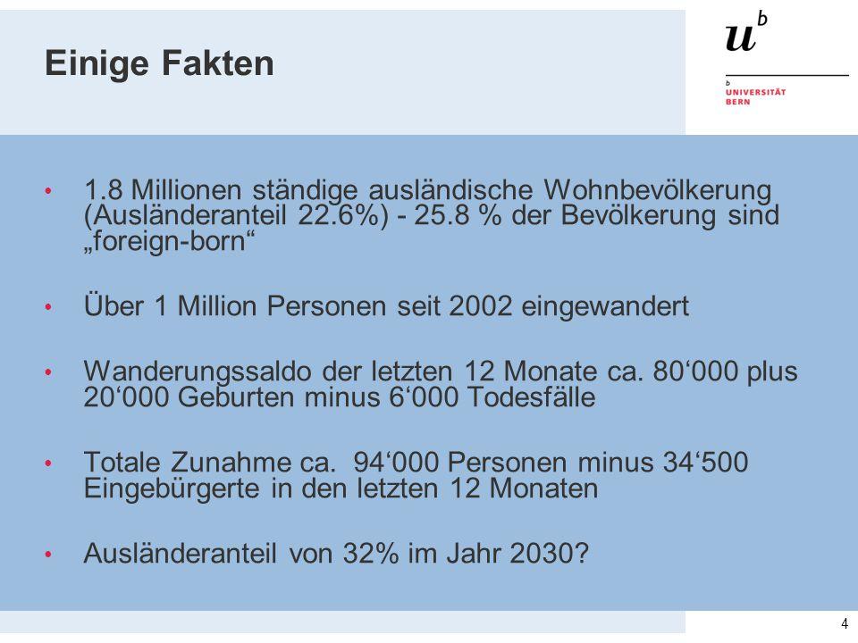 """Einige Fakten 1.8 Millionen ständige ausländische Wohnbevölkerung (Ausländeranteil 22.6%) - 25.8 % der Bevölkerung sind """"foreign-born Über 1 Million Personen seit 2002 eingewandert Wanderungssaldo der letzten 12 Monate ca."""