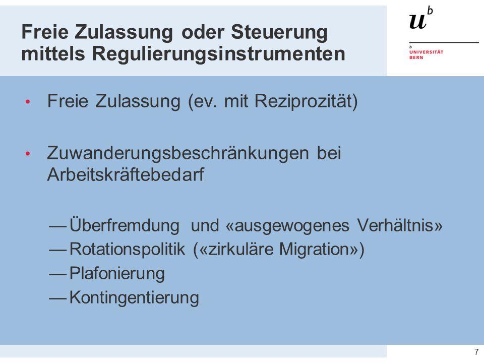 Freie Zulassung oder Steuerung mittels Regulierungsinstrumenten Freie Zulassung (ev. mit Reziprozität) Zuwanderungsbeschränkungen bei Arbeitskräftebed