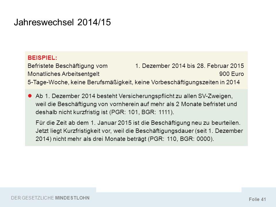 Folie 41 Jahreswechsel 2014/15 DER GESETZLICHE MINDESTLOHN BEISPIEL: Befristete Beschäftigung vom1. Dezember 2014 bis 28. Februar 2015 Monatliches Arb