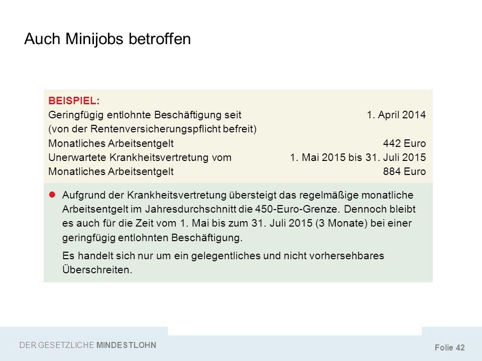 Folie 42 Auch Minijobs betroffen DER GESETZLICHE MINDESTLOHN BEISPIEL: Geringfügig entlohnte Beschäftigung seit1. April 2014 (von der Rentenversicheru