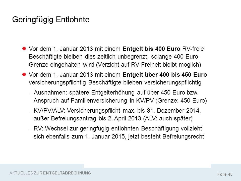 Folie 45 Geringfügig Entlohnte AKTUELLES ZUR ENTGELTABRECHNUNG Vor dem 1. Januar 2013 mit einem Entgelt bis 400 Euro RV-freie Beschäftigte bleiben die